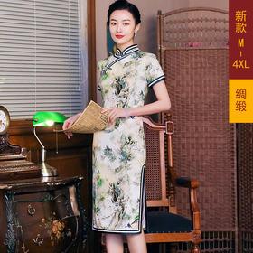 修身舒适,绸缎日常中长款旗袍GY-JYJ020