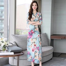 民族风中长款套头,花色V领九分袖气质连衣裙HR- GJC979