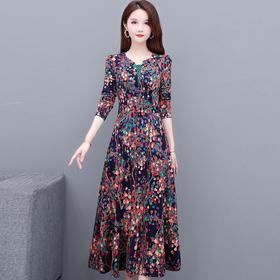 气质高贵,修身长袖中长款印花连衣裙YW-KED91295