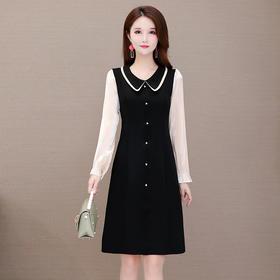 修身显瘦,长袖气质减龄娃娃领连衣裙YW-XH-YLX20B03