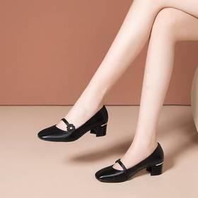 真皮百搭,时尚粗跟低跟单鞋OLD-J857-5