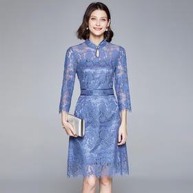 BHS020104172新款时尚优雅气质收腰显瘦立领长袖拼接蕾丝连衣裙TZF