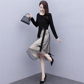 时尚气质,网纱拼接圆点针织连衣裙HR-YUSHIYA20316