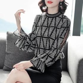 2020初秋新款立领上衣,宽松显瘦荷叶遮肚小衫TYL8563