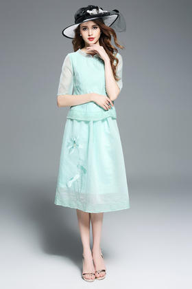 (捡漏款)OG9358民国复古风刺绣两件套连衣裙TZF