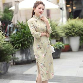 【碧秋】优雅中国风,改良雪纺印花中长款旗袍XGT-Q2356