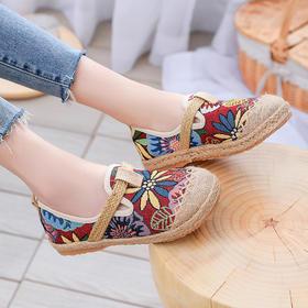 民族风绣花鞋,复古圆头一脚蹬亚麻鞋GF-01-327