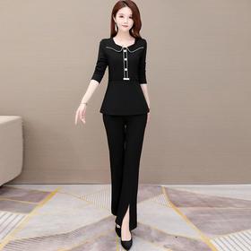 修身显瘦,长袖雪纺衫+长裤小香风两件套YW-KED-BC031