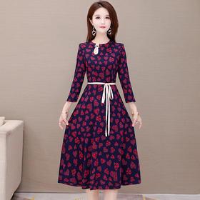 气质减龄,修身收腰大码印花连衣裙YW-YDY-OXR20A11