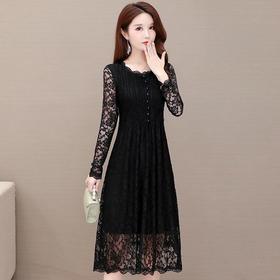 修身显瘦,气质减龄长袖大码蕾丝连衣裙YW-KED-BC043