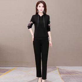 修身显瘦,长袖印花连帽卫衣+休闲长裤两件套YW-XH-YLX20B08