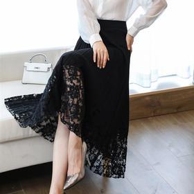 NYL1419052新款时尚气质百褶镂空网纱中长款半身裙TZF