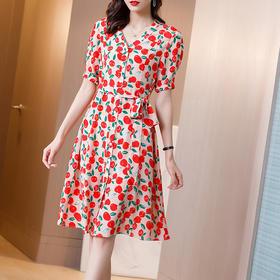 收腰显瘦,气质时尚碎花真丝连衣裙SS-06-1501