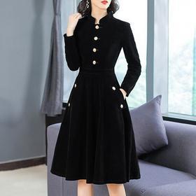 NYL4083075新款时尚优雅气质修身立领长袖丝绒连衣裙TZF
