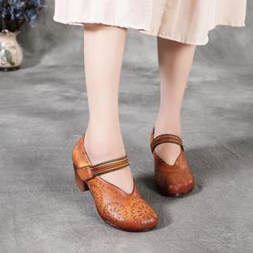 休闲舒适,中跟圆头手工擦色印花皮鞋BC-038-0131
