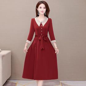 修身舒适,仿醋酸长袖气质减龄娃娃领连衣裙YW-YDY-W2302