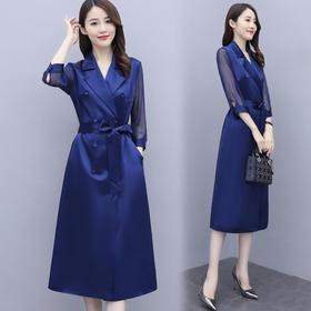 HRFS-WQ98029新款时尚优雅气质修身中长款风衣裙TZF