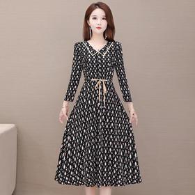 修身收腰,时尚气质减龄长袖印花连衣裙YW-KSF20A160