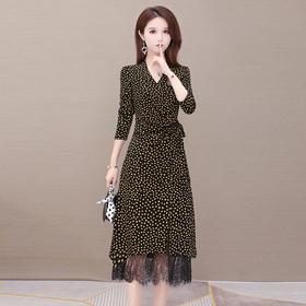 气质减龄,修身蕾丝拼接波点长袖连衣裙YW-XH-SD20B03