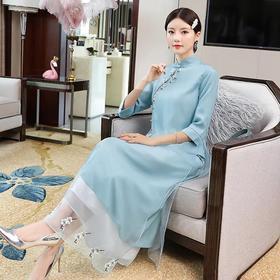 高端舒适,新式唐装民国汉服改良连衣裙YFN-20161