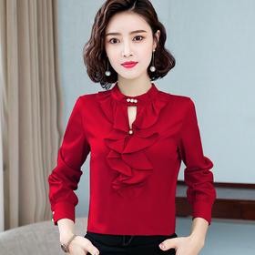 时尚洋气,荷叶边圆领设计感打底长袖衬衫TR-66360