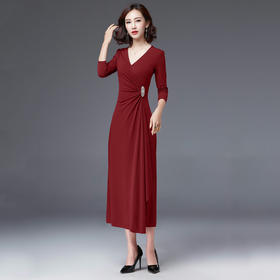 PDD-HFYP200809新款名媛气质修身显瘦V领长袖连衣裙TZF