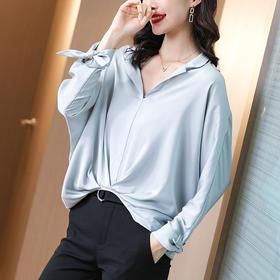 纯色舒适,长袖设计感小众真丝衬衫SS-08-0607