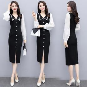 时尚简约,拼接修身减龄连衣裙HR-MYYS8803