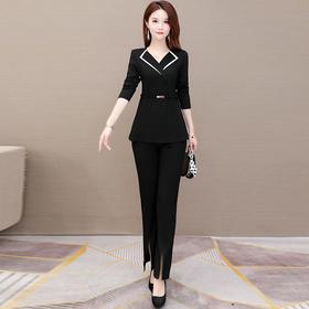 气质减龄,修身长袖雪纺衫+休闲长裤两件套YW-KED-BC032