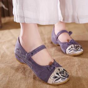 休闲拼色绣花鞋,内增高软底舒适单鞋GF-R-128