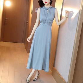 XFFS6633新款时尚优雅气质修身显瘦无袖大摆连衣裙TZF