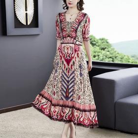 NYL3577393新款时尚气质修身显瘦中长款印花连衣裙TZF