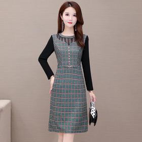 修身显瘦,大码气质时尚格子长袖连衣裙YW-YDY-FM2007
