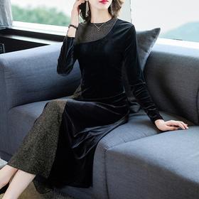 NYL133161新款时尚优雅气质修身圆领长袖金丝绒连衣裙TZF