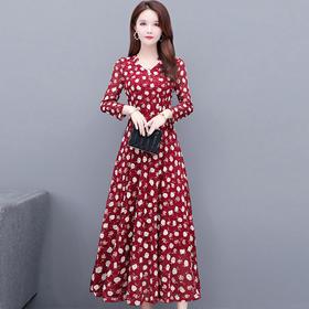 气质减龄,修身中长款印花蕾丝连衣裙YW-KED91308
