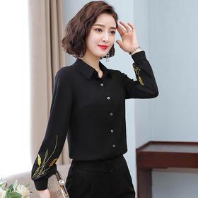 设计感小众气质刺绣,雪纺长袖衬衫TR-6810