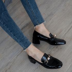 OLD2037新款时尚气质百搭粗跟小皮鞋TZF