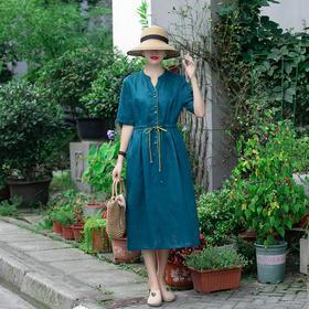 复古纯色纯亚麻,收腰半开领半袖连衣裙LT-810