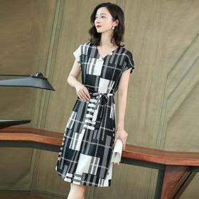 简约优雅,短袖缎面收腰重磅格子真丝连衣裙KQN-2917