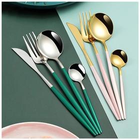 葡萄牙西餐具4件套 4色可选(金银2色随机) 牛排刀+主餐叉+主餐勺+咖啡勺304不锈钢