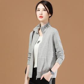 休闲韩版,刺绣开衫立领长袖卫衣GYM-D8762