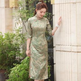 (秋瓷)改良缎面小碎花,提花中长款旗袍XGT-Q2304