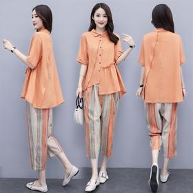 时尚减龄,宽松清凉透气棉麻连衣裙HR-BX1260