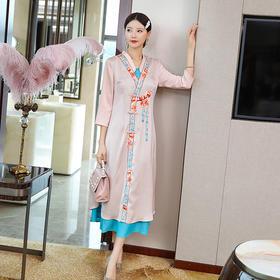 气质修身,改良版中国风重工复古碎花连衣裙YFN-20152
