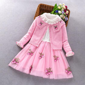 ALBL2021新款潮流时尚女童纯棉长袖毛衣公主裙两件套TZF