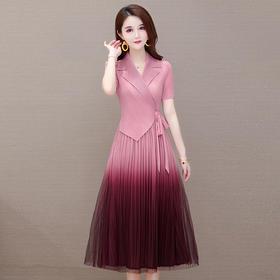 YWE-JJ-S39330新款渐变色网纱连衣裙TZF