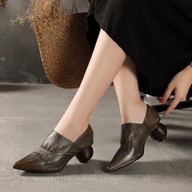 复古时尚,尖头真皮高跟民族风单鞋LT-1924-3131