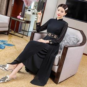 OG99530新款民族风优雅气质收腰显瘦立领长袖刺绣连衣裙TZF