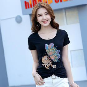 修身舒适,手工钉珠蝴蝶图案圆领修身短袖棉T恤ZS-8612