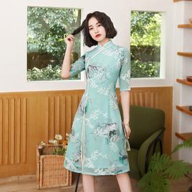 日常时尚,改良绣花雪纺奥黛旗袍BJS-9012